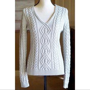 Ralph Lauren Metallic Silver Cable Knit Sweater S